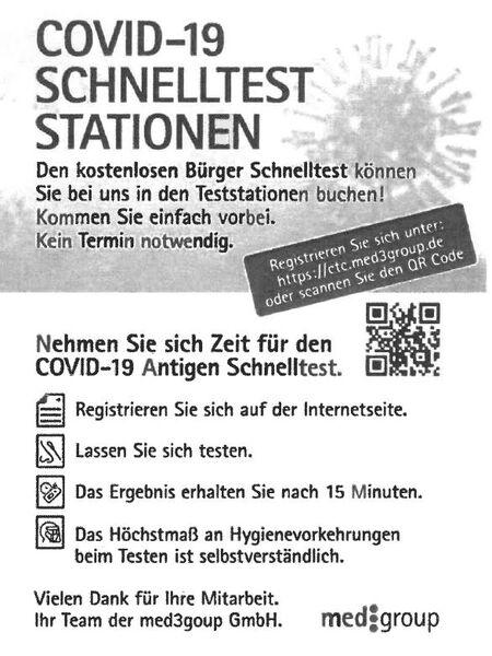 Testmobil Hinweis Registrierung